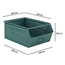 Magazijnbak SSI Schäfer LF 14/7-1, staal, L 720 x B 480 x H 295 mm, 83 l, grijsblauw