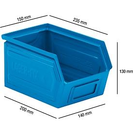 Magazijnbak SSI Schäfer LF 14/7-4 staal, L 235 x B 150 x H 130 mm, 3,5 l, blauw