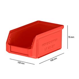 Magazijnbak SSI Schäfer LF 211, polypropeen, L 168 x B 103 x H 76 mm, 0,9 l, rood