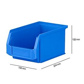 Magazijnbak SSI Schäfer LF 221, polypropeen, L 234 x B 150 x H 122 mm, 2,7 l, blauw