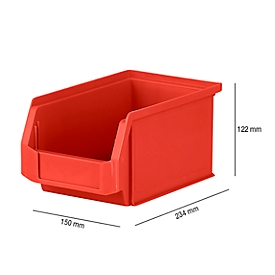 Magazijnbak SSI Schäfer LF 221, polypropeen, L 234 x B 150 x H 122 mm, 2,7 l, rood
