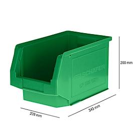 Magazijnbak SSI Schäfer LF 322, polypropeen, L 343 x B 209 x H 200 mm, 10,4 l, groen