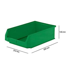 Magazijnbak SSI Schäfer LF 531, polypropeen, L 500 x B 312 x H 145 mm, 16,5 l, groen