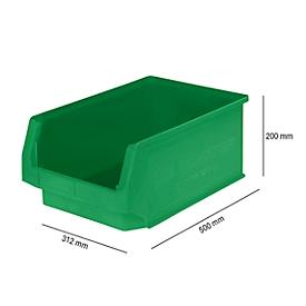 Magazijnbak SSI Schäfer LF 532, polypropeen, L 500 x B 312 x H 200 mm, 23,5 l, groen