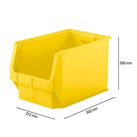 Magazijnbak SSI Schäfer LF 533, polypropeen, L 500 x B 312 x H 300 mm, 38 l, geel