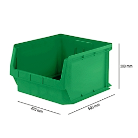 Magazijnbak SSI Schäfer LF 543, PP-kunststof, L 500 x B 470 x H 300 mm, 57 l, groen
