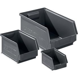Magazijnbak SSI Schäfer Serie LF, gerecyclede kunststof, 3 maten, 0,9 - 7,5 l, ijzergrijs, 64 stuks