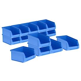 Magazijnbakken LF 211 SET, 15 stuks, kunststof, 0,9 l, blauw