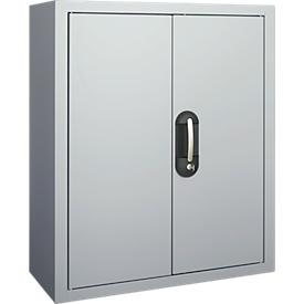 Magazijnkast, 830 mm hoog, 6 legborden, 42 bakken, met deuren, blank alu