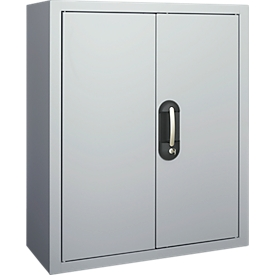 Magazinschrank, 830 mm hoch, 6 Böden, ohne Kästen, mit Türen, alusilber