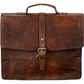 Maletín bandolera ejecutivo PRIDE SOUL Jayden, con asa de transporte, con compartimento para iPad, cuero, marrón