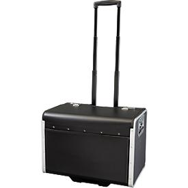 Maletín para documentos JSA Parma, con asa de transporte y ruedas, 1 compartimento, imitación de cuero, negro