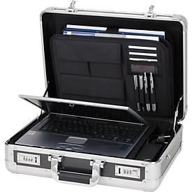 Maletín para portátil de aluminio ALUMAXX, con asa de transporte, 1 compartimento, plata/carbono