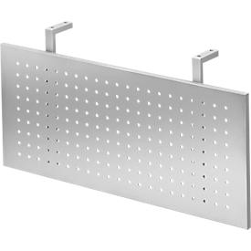 Mampara de privacidad para escritorios, metálica, perforada, acabado esmaltado al horno color plata, ancho 800 mm