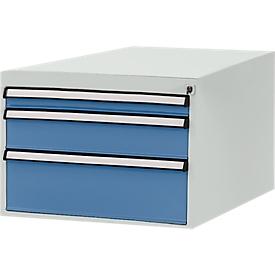 Manuflex Schubladen-Unterbau, für T 800 mm, lichtgrau/brillantblau