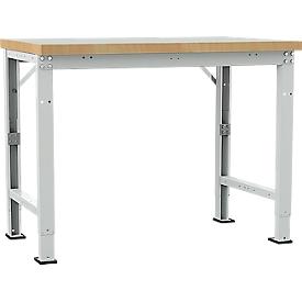 Manuflex Werkbank Profi Spezial, Tischplatte Kunststoff, 1250 x 700 mm, lichtgrau