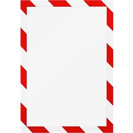 Marco informativo DURAFRAME® SECURITY A4, rojo/blanco, 2 piezas