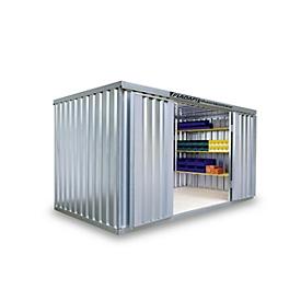Materiaalcontainer MC 1400, gegalvaniseerd, ongemonteerd, met houten bodem