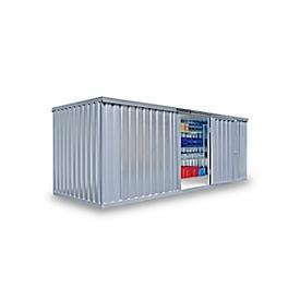 Materiaalcontainer MC 1600, gegalvaniseerd, ongemonteerd, met houten bodem