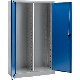 Materiaalkast MS 2512, B 1200 x D 500 x H 1935 mm, aluminium zilver/gentiaanblauw