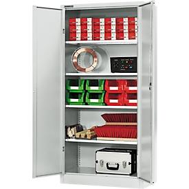 Materiaalkast MSI 2509, 5 ordnerhoogten, 4 tussenlegborden, cilinderslot, B 950 x D 500 x H 1935 mm, lichtgrijs