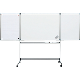 MAUL whiteboard inklapbaar, 2 vleugels, mobiel, 1500 x 1000 mm