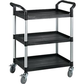 Mehrzweck-Tischwagen, Außenmaße: L 850 x B 480 x H 1000 mm, 3 Etagen, 3 Etagen, schwarz