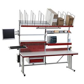 Mesa de embalaje completa Profi System Flex Hüdig+Rocholz, ajustable en altura eléctr.