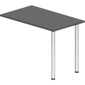Mesa de extensión NEVADA, rectangular, W 1000 x D 600 x H 740 mm, tubo redondo, gris oscuro/blanco
