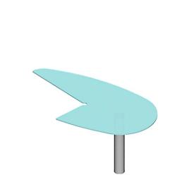 Mesa de extensión X-TIME-WORK, pie de tubo redondo, extensión izquierda, 960 x 1850 x 740mm, para escritorio An 2000mm, vidrio/aluminio