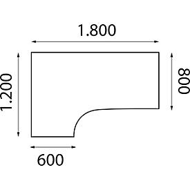 Mesa de forma libre NEVADA, An 1800 x P 1200/800 x Al 740mm, redondo, acabado en haya/aluminio plateado