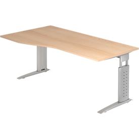 Mesa de forma libre TARVIS, An 1800 x P 800/1000 x Al 680-860mm, armazón plata, acabado en roble