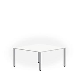 Mesa de reuniones NEVADA, An 1400 x P 1400 x Al 740mm, cuadrado, blanco/aluminio plateado