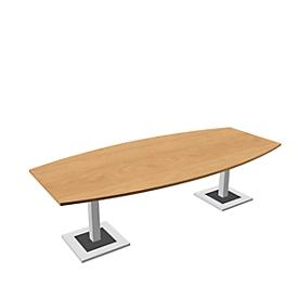 Mesa de reuniones Quandos, forma de barca, An 2400 x P 1200mm, roble Masonic