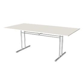 Mesa de reuniones Toledo, hasta 6 personas, forma rectangular, pata en T, An 2000 x P 1000 x Al 720mm, blanco