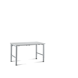 Mesa de trabajo 1200mm, gris luminoso/aluminio blanco, L 1200 x P 800 x An 680 - 960mm