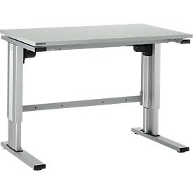 Mesa de trabajo ajustable en altura con motor eléctrico EL 1, 1200 x 800mm, gris luminoso/aluminio plateado