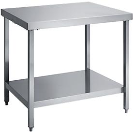 Mesa de trabajo de acero inoxidable, L 1200 x A 700 x H 850 mm, con estante bajo