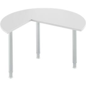 Mesa extensible, 3/4 de círculo, Ø 1200 mm, extensión a la derecha/izquierda, aluminio gris claro/blanco