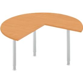 Mesa extensible, 3/4 de círculo, Ø 1400 mm, extensión a la derecha/izquierda, haya/aluminio blanco