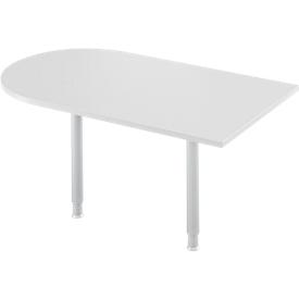 Mesa extensible, arco, ancho 1400 x fondo 800 mm, aluminio gris claro/blanco