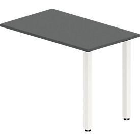 Mesa extensible NEVADA, pie de tubo cuadrado, ancho 1000 x fondo 600 x alto 740 mm, gris alerce/blanco