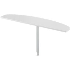 Mesa extensible Schäfer Shop Select, 1 pata, forma elíptica, extensión a la derecha, ancho 1600 x fondo 400 mm, aluminio gris claro/blanco