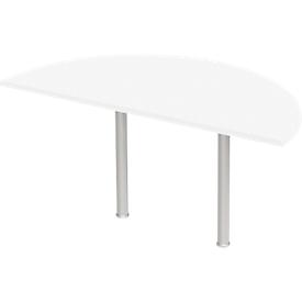 Mesa extensible, semicírculo, Ø 1600 mm, aluminio blanco/blanco
