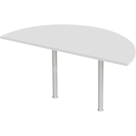 Mesa extensible, semicírculo, Ø 1600 mm, gris claro