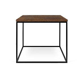 Mesa lateral Oxidada, cuadrada, marco cúbico, W 500 x D 500 x H 450 mm, aspecto oxidado/negro