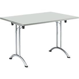 Mesa plegable, 1200 x 700 mm, gris claro/cromo