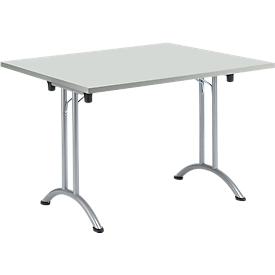 Mesa plegable, 1200 x 800 mm, gris claro/aluminio