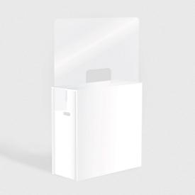Messetheke mit Spuckschutz, Leichtschaumplatte/Acrylglas, L 1080 x B 430 x H 1855 mm, mit Durchreiche, 2 Ablagen