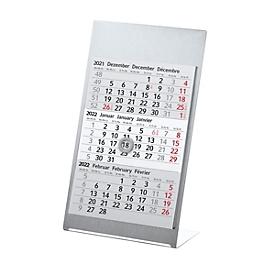 Metall-Tischkalender, mit Metallrahmen, B 105 x H 230 mm, Werbedruck 90 x 20 mm, silber, Auswahl Werbeanbringung optional